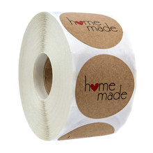 500 etichette per rotolo Rotonda Naturale Kraft Grazie Adesivi di tenuta etichette Fatto A Mano Con Amore Adesivi Ufficio di Cancelleria sticker