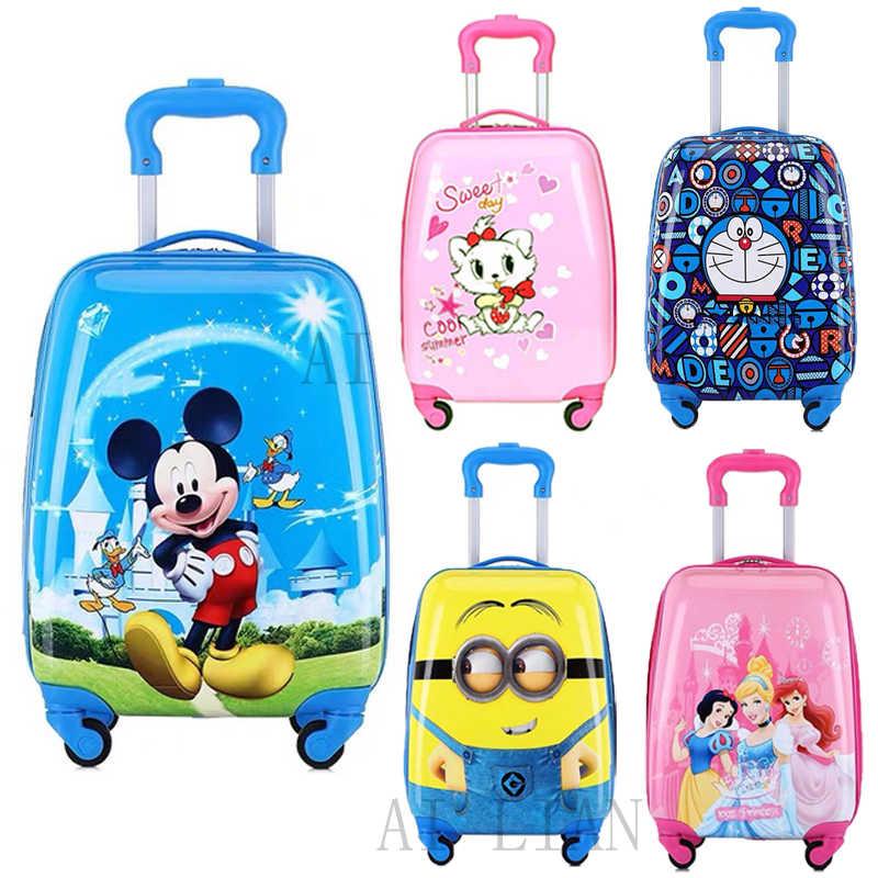קריקטורה ילדים מתגלגל מזוודות עגלת מקרה ילדי נסיעות מזוודה על גלגלים 16/18 inch לשאת תוספות בני בנות גלגלים תיק