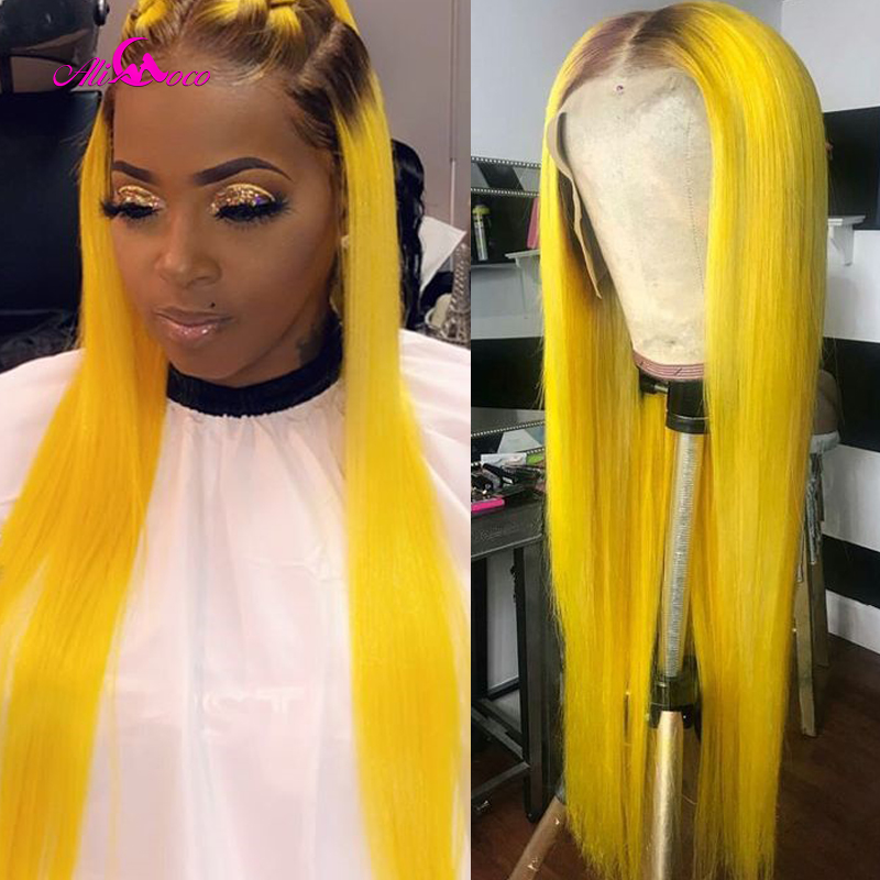 Ali Coco Straight Hair Blonde Lace Front Wig Ombre Wig 8-26 Inch Brazilian Yellow Lace Front Human Hair Wig Remy Hair Lace Wigs