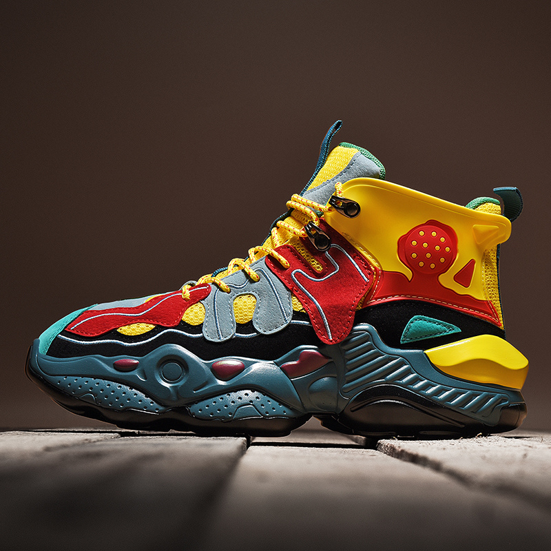 Трендовая спортивная обувь для мужчин на толстой подошве; Кожаные кроссовки с вышивкой; Спортивная обувь смешанных цветов; Спортивная обув...