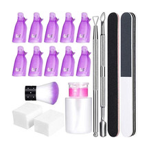 Nagellak Remover Tool Set Cuticle Pusher Veeg Wattenschijfjes Pomp Fles Nail Clip Caps Manicure Polijsten Strip Bestand(China)