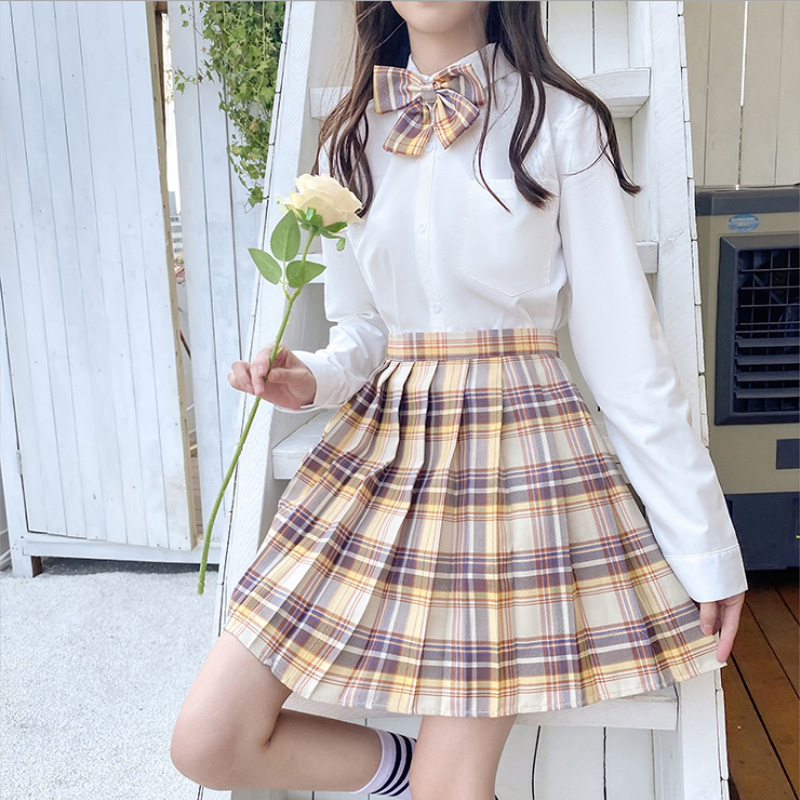 New Korean version of pleated skirt 2020 high waist summer women's skirt sexy plaid mini skirt dance skirt 4