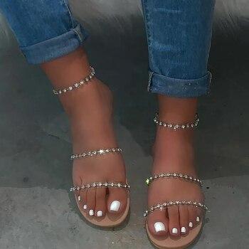 Sandalias planas de mujer de talla grande con diamantes de imitación romanas con hebilla cómoda y sexy a la moda 2020 nuevas sandalias de verano hechas a mano para mujer
