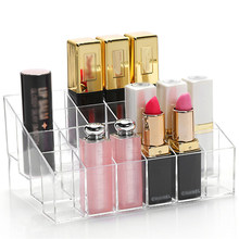 24 Grids Clear Lipsticks Holder Case Storage Box Display Stand Transparent Cosmetic Storage Rack Makeup Organizer(China)