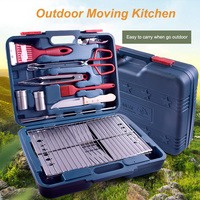 Outdoor BBQ Folding Grill Sets Camping Cooking Tools Set Stainless Steel Foldable Barbecue Grill with BBQ Tools Accessories Sets