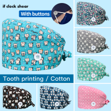 Unisex scrubs caps Adjustable cotton tooth printing hats High Quality adjustable sweat-absorbent Elastic multicolor scrubs hats