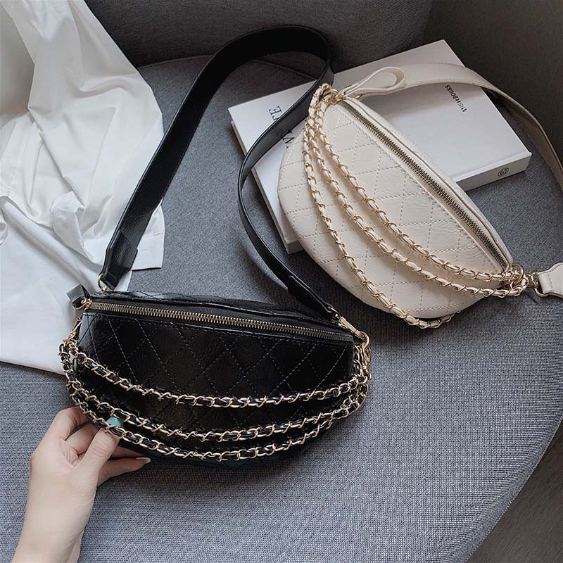 Women's Leather Waist Bag Belt Bag Fashion PU Chain Fanny Pack Hip Bag Black Rhombic Female Waist Packs Chest Crossbody Pack