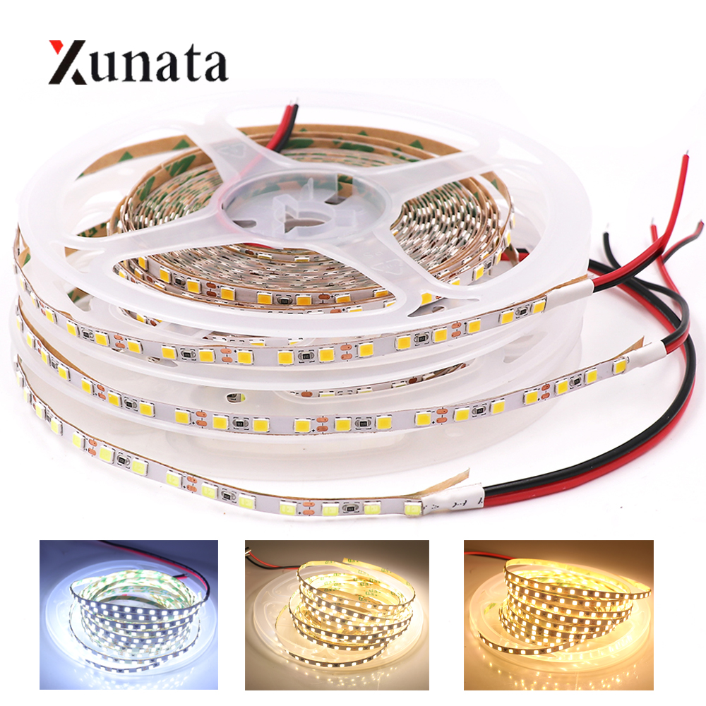 DC12V <font><b>LED</b></font> Strip Light 5M SMD2835 120LEDs/M Flexible <font><b>LED</b></font> Tape <font><b>4MM</b></font> PCB <font><b>LED</b></font> Ribbon for Backlight <font><b>LED</b></font> Light Strip for Decoration image