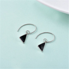 925 sterling silver The pendants Simple black and white geometric triangle earrings temperament Womens fashion jewelry