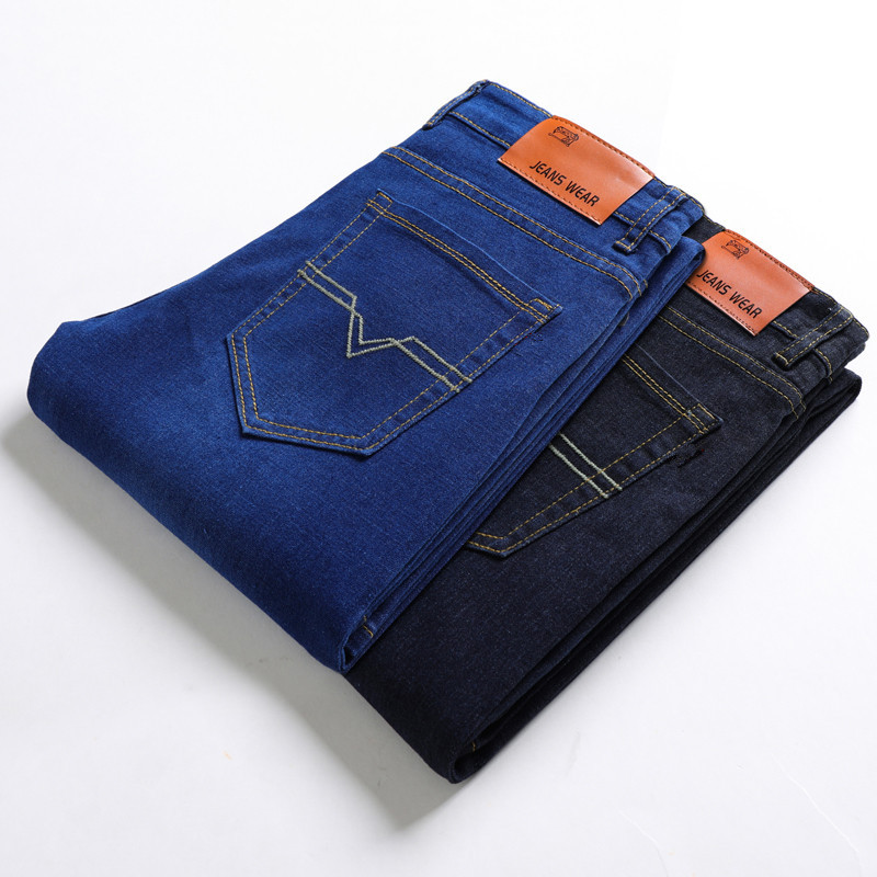 2019 New Men's Classic Straight Black Blue Eans Fashion Business Casual Elastic Trousers Male Brand Pants Plus Size 40