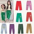 Детские джинсы до щиколотки с мультяшным принтом, на весну/лето
