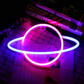 Planet LED Lights Neon Light Sign Bedroom Decor Neon Sign Night Lamp for Rooms Wall Art Bar Party USB or Battery Powered недорого