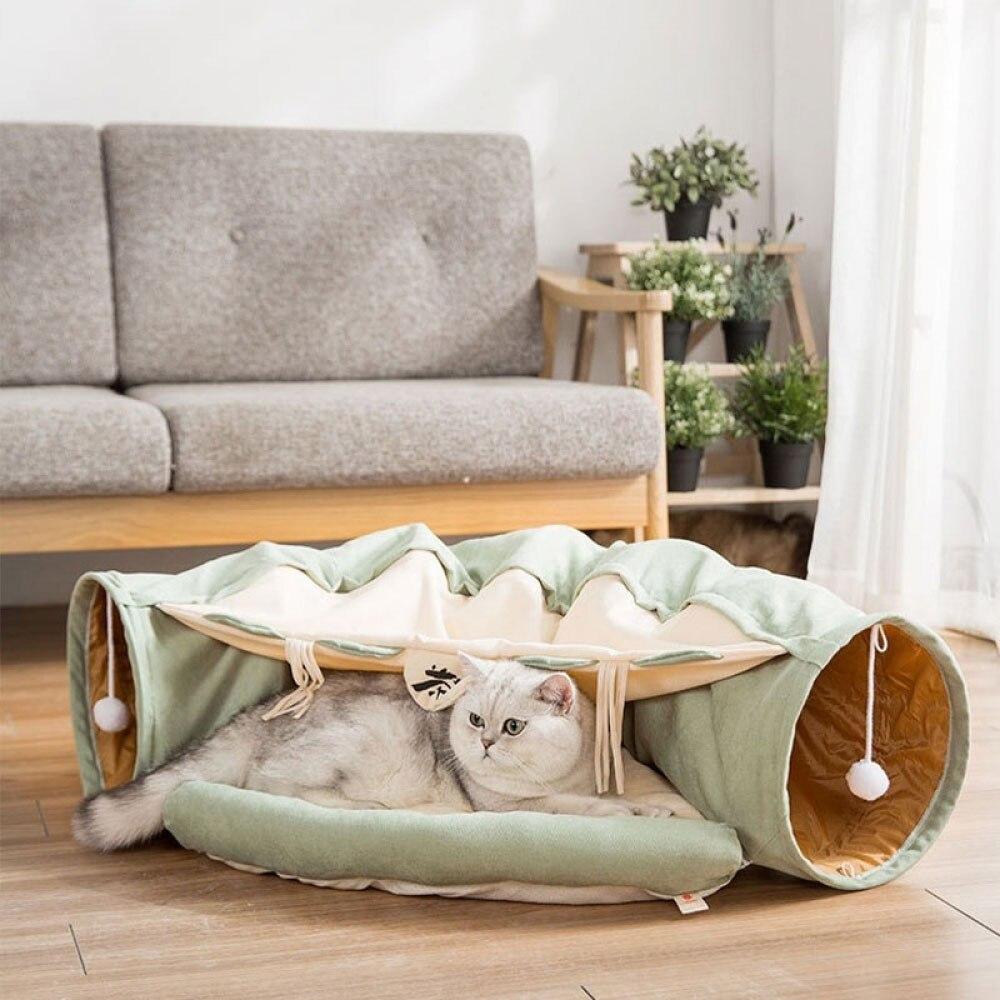 Tube de Tunnel de chat amovible pliable animaux de compagnie jeu interactif jouets son papier anneau cloche pour chat furets chiot