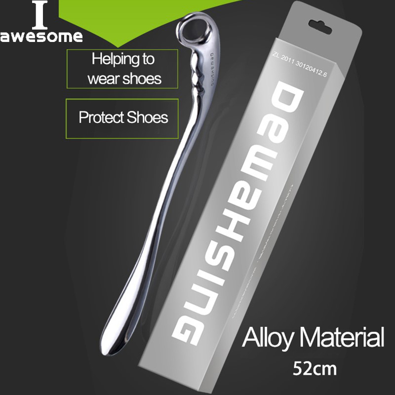 Professional 52cm Length Alloy Metal Shoe Horns For Convenient Wearing Shoes Horn And Spoon Leather High Heel Shoe Hanging Spoon