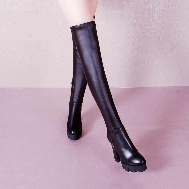 Inverno sobre o joelho botas moda feminina preto plataforma de salto alto estiramento sapatos longos dedo do pé redondo couro vaca coxa botas altas