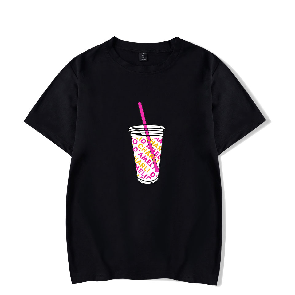Rholycrown Ice Coffee Splatter T-shirt Charli Damelio Girl Funny T Shirt Oversize O-neck Short Sleeve For Women Unisex Print