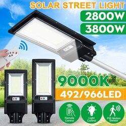 Светодиодный уличный фонарь на солнечной батарее, 2800 Вт, 3800 Вт, с/без пульта дистанционного управления, радар-датчик, Уличный настенный свет...
