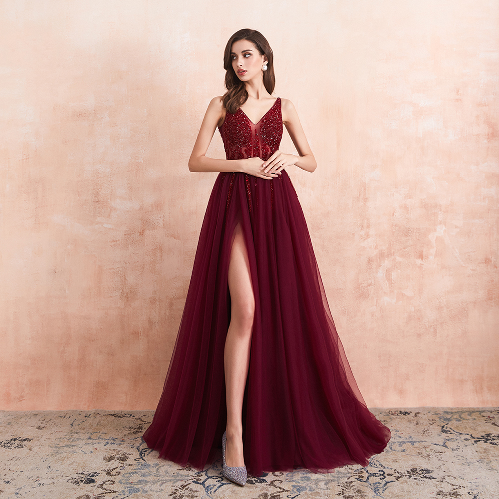 Sexy Tulle Long Prom Dresses 2020 New Arrival Beaded Split A-Line V-Neck Special Occasion Evening Party Gown