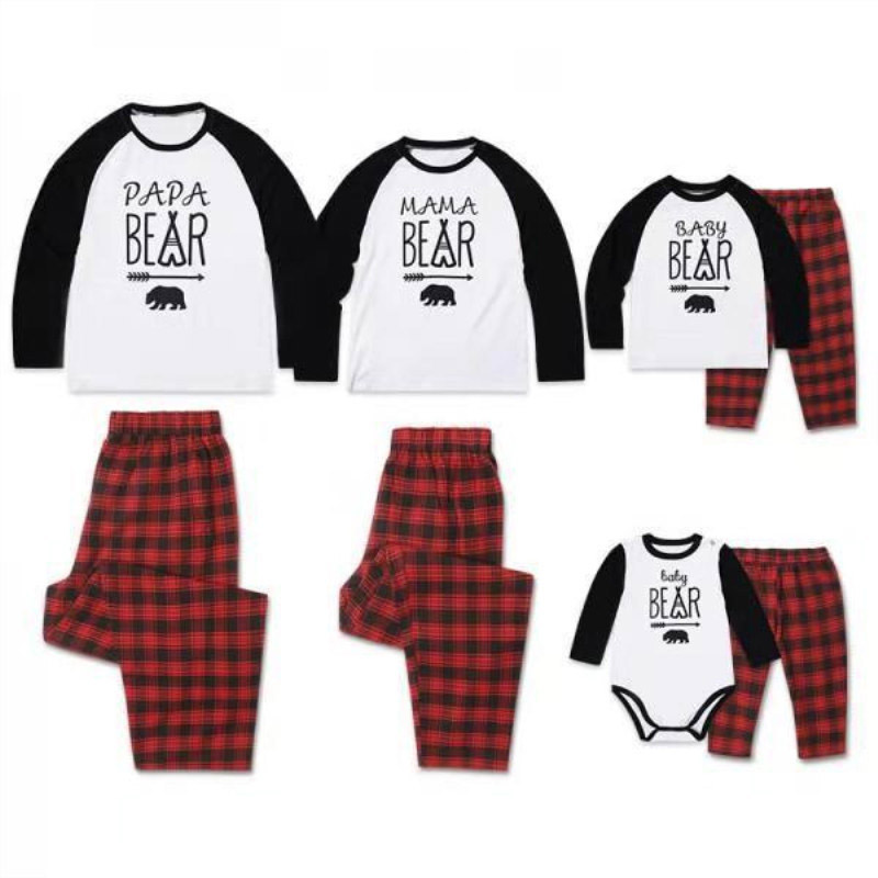 Lovely Christmas Dad&Mom-child Sets Family Matching Pajamas Long Sleeve Letter Printing Family Look Pajama Suit