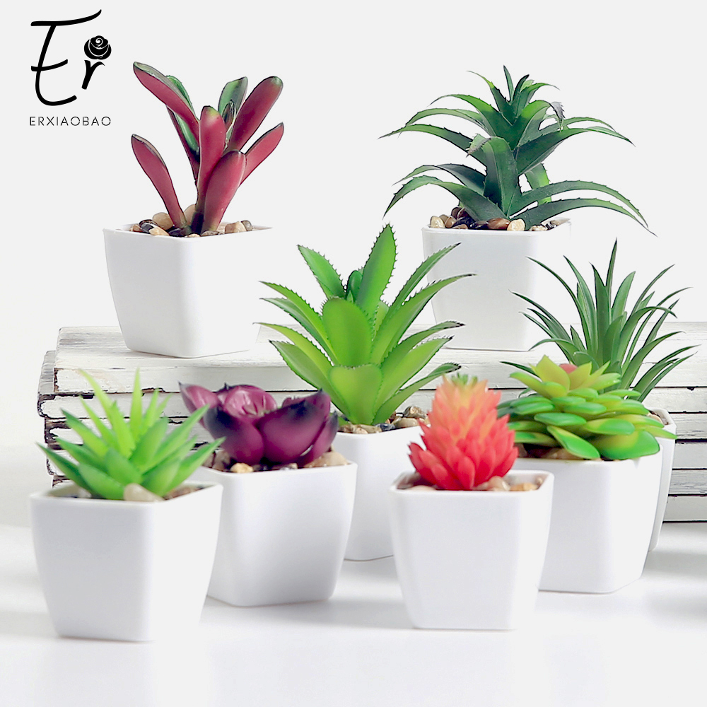 Erxiaobao Lovely Artificial Plants With Pot Simulation Succulents Mini Bonsai Potted Placed Green Fake Plants Table Decoration