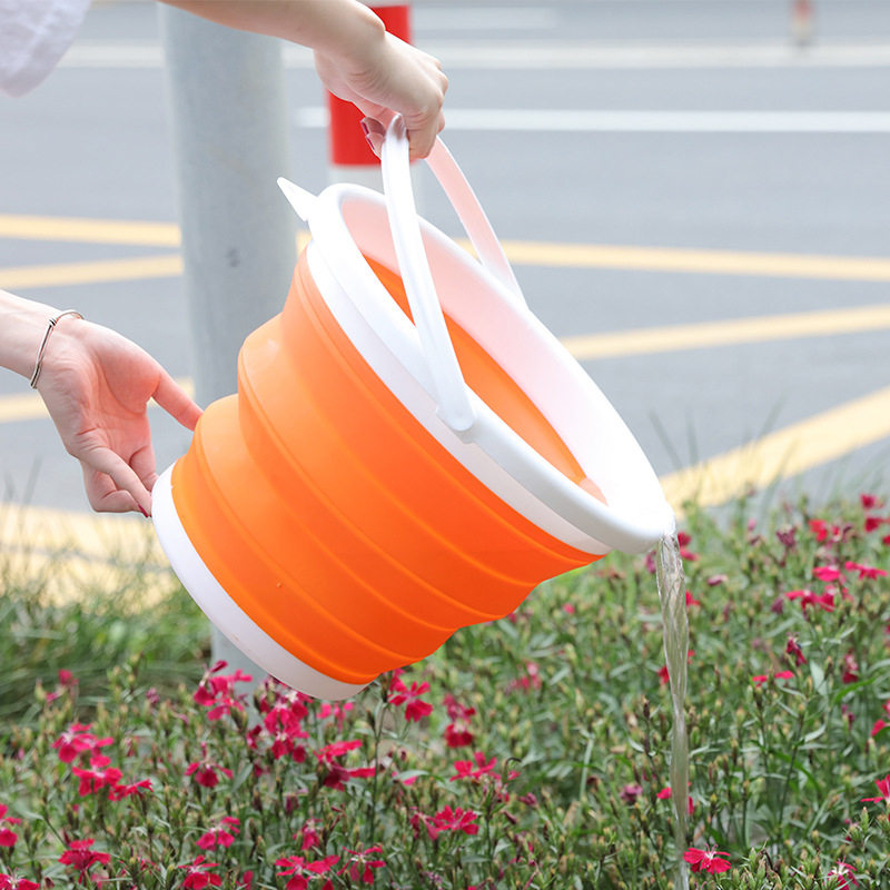 1.5L - 10L Silicone Folding Bucket for Fishing Promotion Folding Bucket Car Wash Outdoor Fishing Round Square Camp Room Bucket