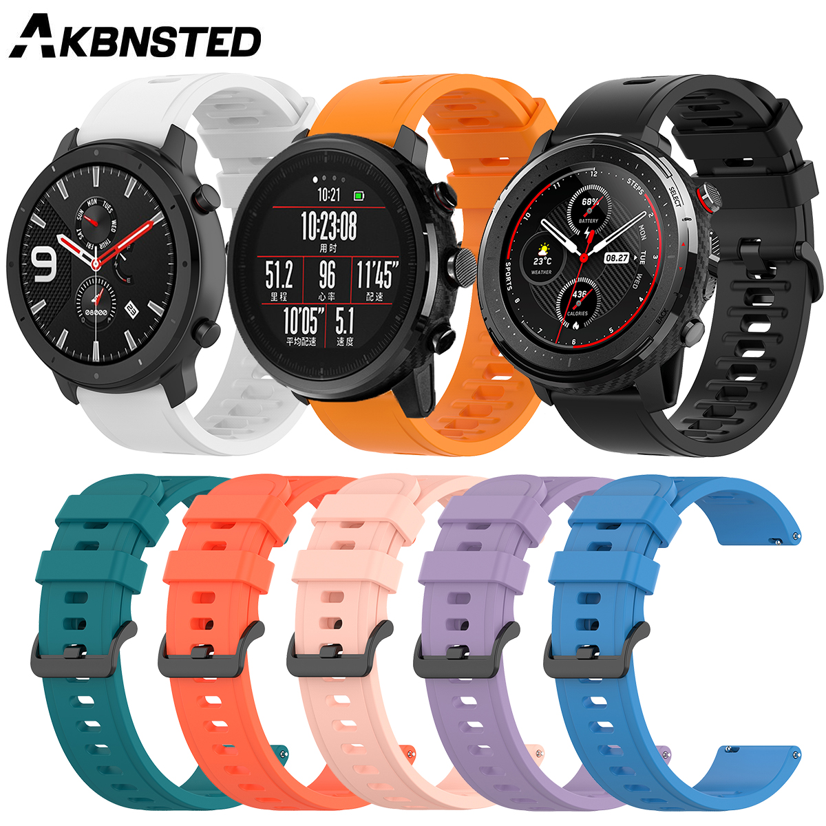 AKBNSTED 22MM Soft Silicone Replacement Strap For Xiaomi Huami Amazfit Stratos 3/GTR 47MM/Pace/Stratos2 Smart Watch Accessories