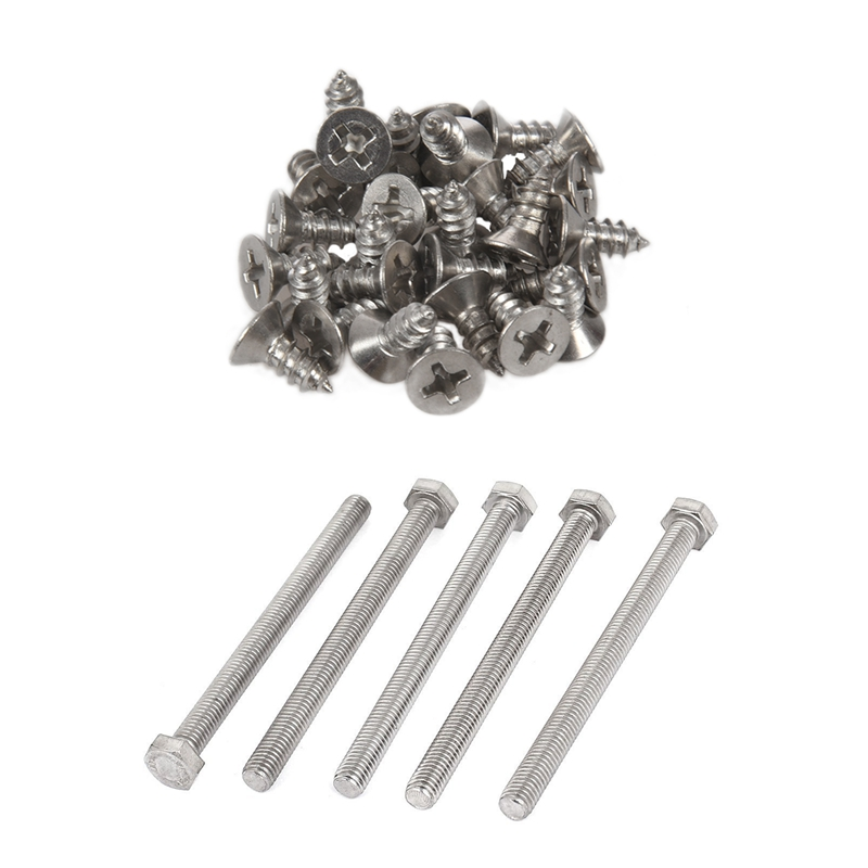 5 Pcs M8 X 100mm A2 Stainless Steel Fully Threaded Hex Head Screw Bolt & 30Pcs M4x10mm Self Tapping Phillips Flat Head 304 Stain