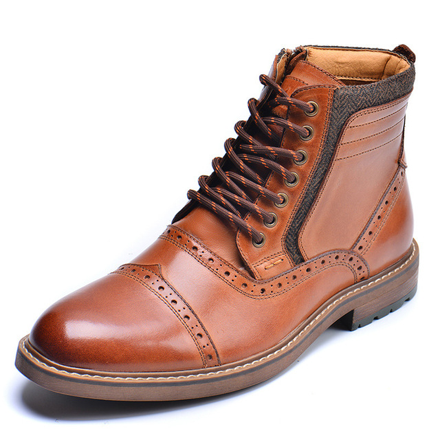 Men SHOES Brown luxury genuine leather boots for men