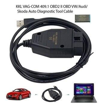 OBD2 USB Cable VAG-COM KKL 409.1 Auto Scanner Scan Tool For Audi Seat Volkswagen Skoda automotive scanner vag k can commander 1 4 obd2 диагностический инструмент сканер com кабель для audi skoda