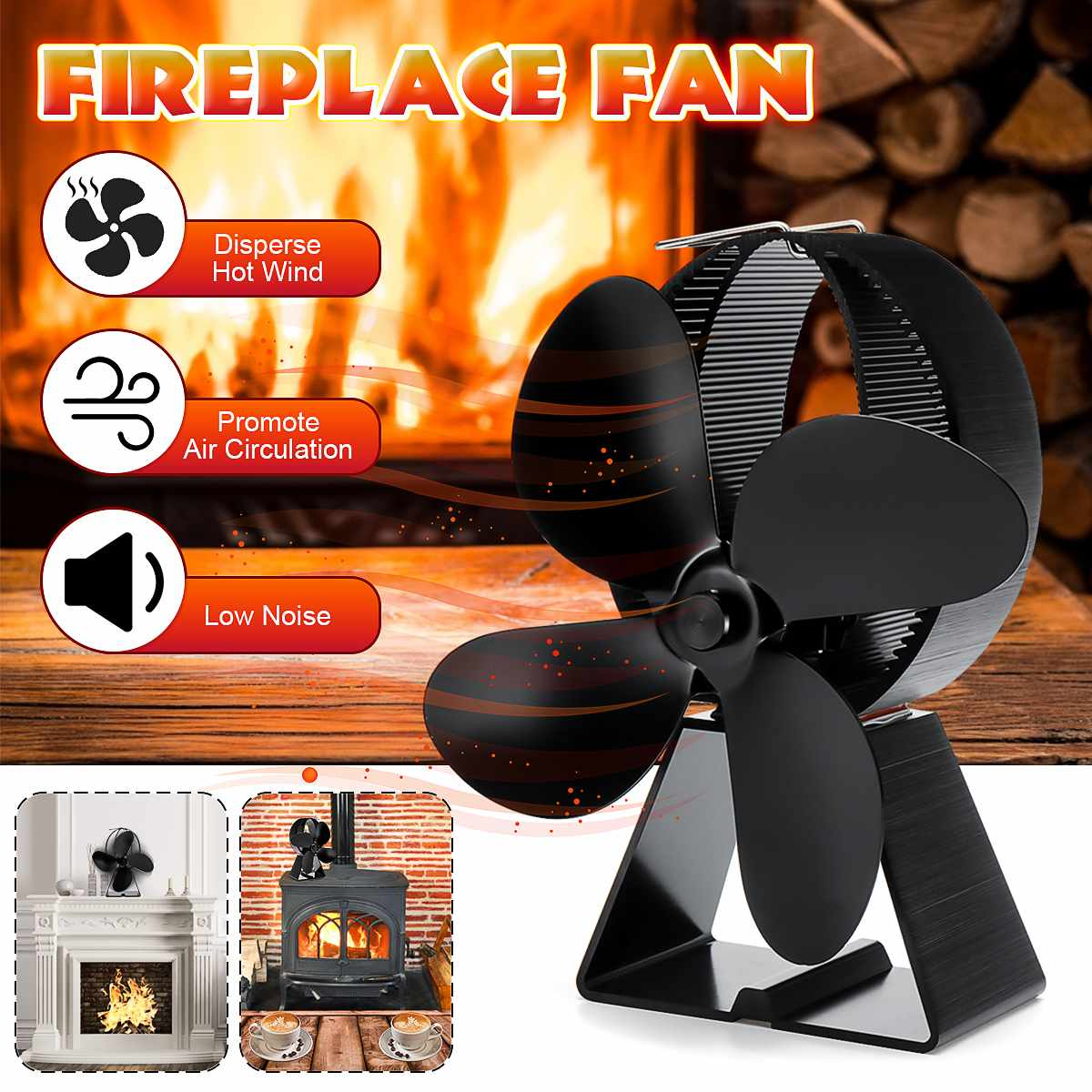 4 Blade Fireplace Fan Black Stove Fan Heat Powered Komin Wood Burner Eco Fan Friendly Quiet Home Efficient Heat Distribution