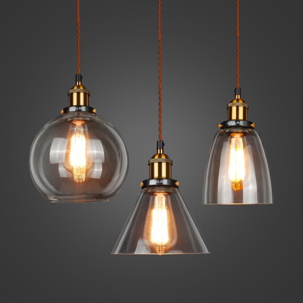 Glass Pendant Lamp Vintage Pendant Lights American Amber E27 Light Bulb Decor Planetarium Lamp Dinning Room Kitchen Home LED
