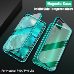На Алиэкспресс купить стекло для смартфона magnetic case for huawei p40 lite case 360 full protective bumper double side glass back cover for huawei p40 nova 7i 6se case
