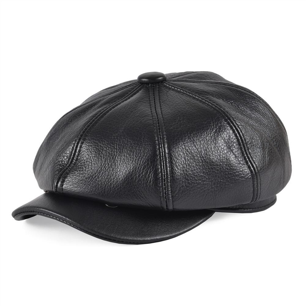 VOBOOM Leather Newsboy Cap Men Baker Boy Bandit Apple Eight Piece Caps Eight Panel Cabbie Jay Gatsby Fisherman's Hat 115