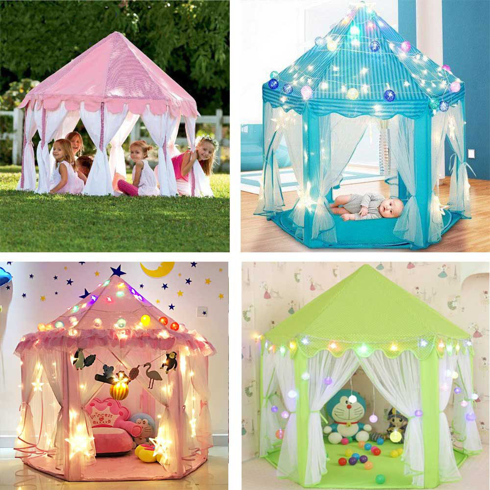Girl Princess Castle Toy Tent Portable Foldable Children Play House Indoor Children's Tent Outdoor Wigwam Little House Kids Tent