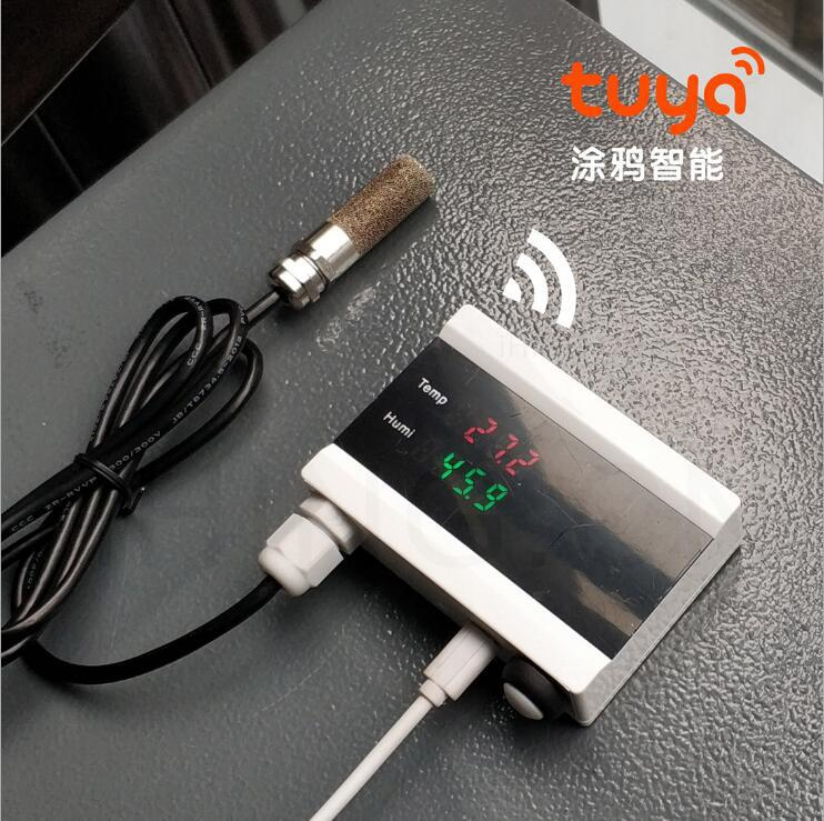 Wifi Intelligent Temperature And Humidity Alarm Digital Display Air Quality PM Value Temperature And Humidity Sensor Tuya