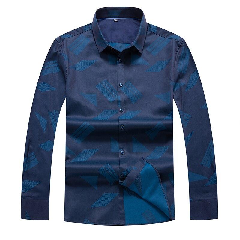 Plus Size 8XL 7XL 6XL  Mens Business Casual Long Sleeves Shirt Men Shirt Classic Print Male Social Dress Shirts Outwear