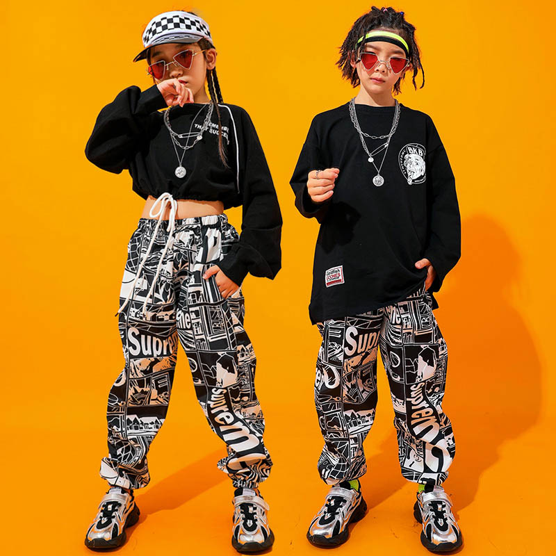 Fashion Jazz Dance Costume Black Hiphop Street Dance Rave Outfit Kids Stage Performance Clothing Printing Practice Wear DC2744