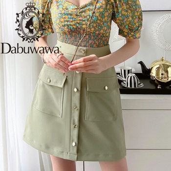 Dabuwawa Single Breasted Solid Pocket Patched Skirts Women High Waist Office Ladies Casual Slim Fit A-line Skirt D18BSK005 dabuwawa single breasted solid pocket patched skirts women high waist office ladies casual slim fit a line skirt d18bsk005