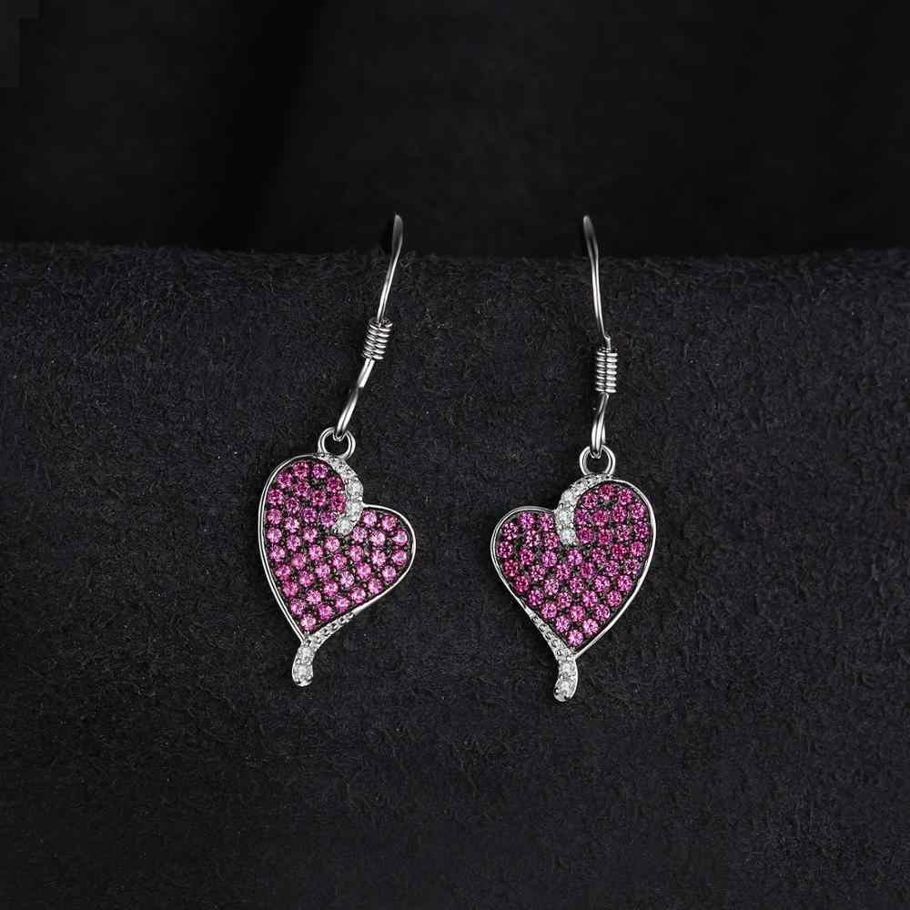 Jewelrypalace coração 0.5ct criado rubi gota brincos 925 prata esterlina jóias finas presente de aniversário para a menina ou weomen