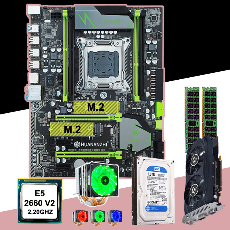 HUANAN ZHI X79 motherboard bundle CPU <font><b>Intel</b></font> <font><b>Xeon</b></font> E5 <font><b>2660</b></font> V2 6 heatpipes cooler video card GTX750Ti 2G RAM 16G(2*8G) 1TB SATA HDD image
