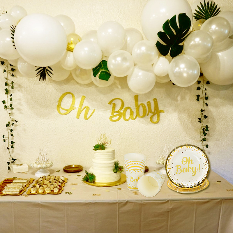 WEIGAO Baby Shower Decorations Gold Oh Baby Disposable Plate Cup Napkins Straws Set Baby Shower Boy Girl Event Party Supplies