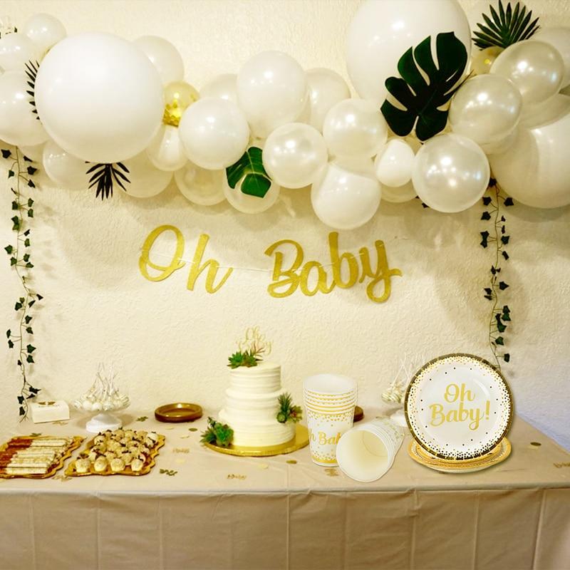 WEIGAO Baby Dusche Dekorationen Gold Oh Baby Einweg Platte Tasse Servietten Strohhalme Set Baby Dusche Junge Mädchen Ereignis Partei Liefert