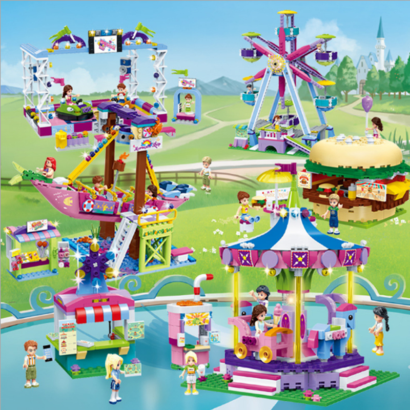 Legoinglys Friends Amusement Park Series Burger Shop Ice Cream Car Ferris Wheel Model Building Blocks Bricks Playgame Girl Toys