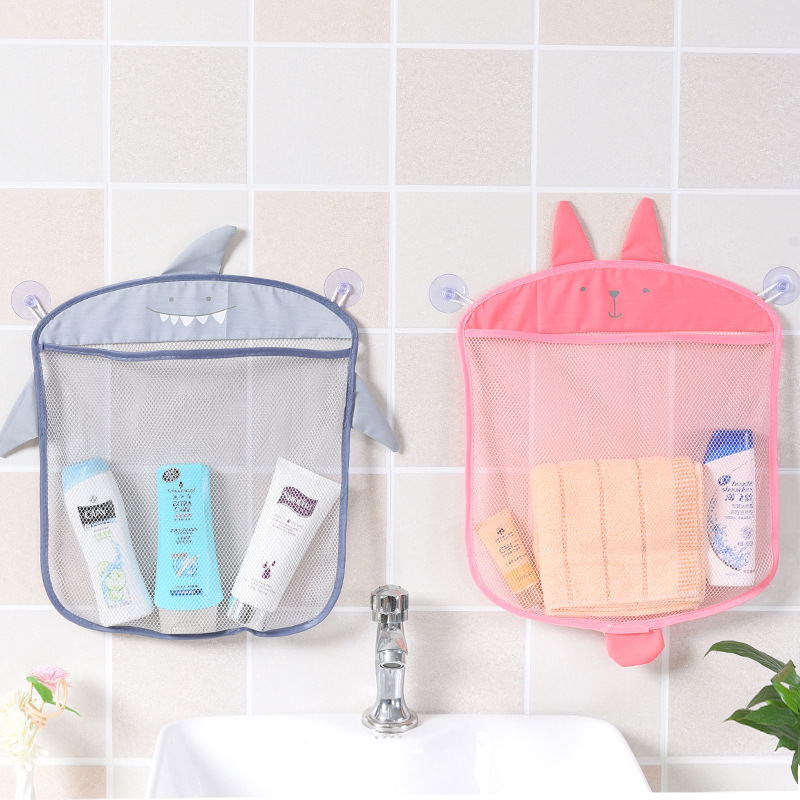 Cartoon Wall Hanging Kitchen Bathroom Storage Bag Suction Cup Mesh Net Storage Basket Baby Bath Toys Shampoo Organizer Container