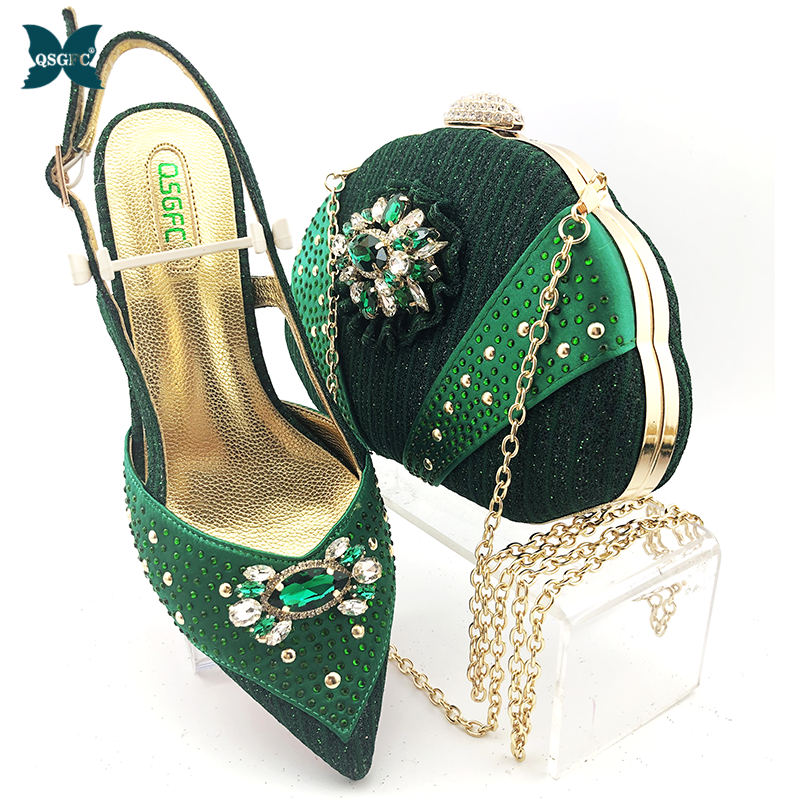2020 Mature Green Color New Coming Cofortable Shoes And Bag To Match Set High Heels Party Shoes And Bag Set For Wedding