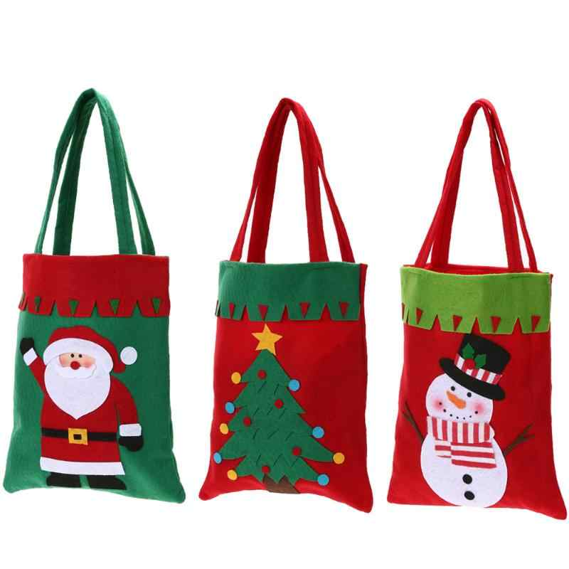 Cute Christmas Candy Sugar Bag Book Holder Xmas Decor Gift Pockets Handbags