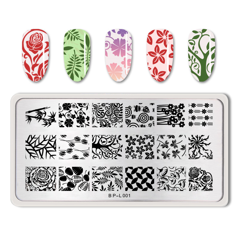 <font><b>BORN</b></font> <font><b>PRETTY</b></font> Nail Stamping Plates Rose Flower Leave Nail Art Stencil Nail Template Image Plate Stainless Steel Nails Tools <font><b>L001</b></font> image