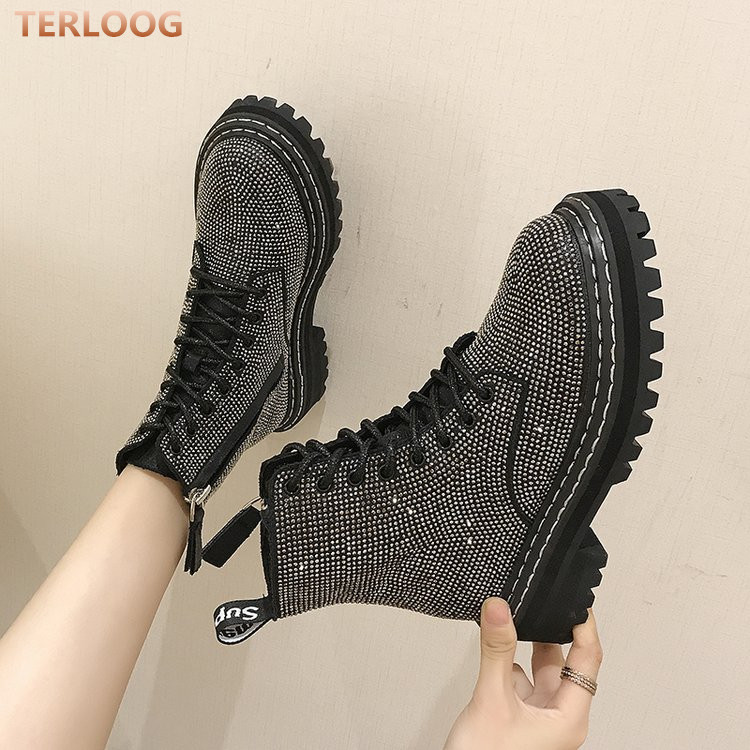 Women Shoes Platform Martin-Boots Mid-Heels Lace-Up Rhinestone Snow Botas Winter Fashion title=