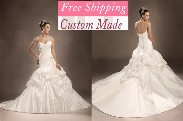 Frete Grtis 2019 Novo Elegante A- Querida Linha Contas Cetim White Marfim Vestido De Casamento Nupcial Vestidos Wedding Dress