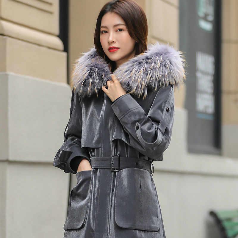 Echt Pelzmantel Frauen Rex Kaninchen Pelz Mantel Winter Mantel Frauen Korean Echten Pelz Parka Lange Jacke Abrigos Mujer Invierno 2020 YY830
